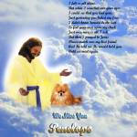 """streched Jesus and Red Pomeranian copy"" by heavenlyimages"
