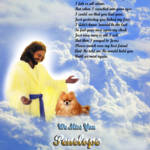 """""""streched Jesus and Red Pomeranian copy"""" by heavenlyimages"""