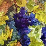 Blue Grapes Red Wine Modern Art