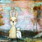 """My Best Friend, Rabbit and Owl, Abstract Landscape"" by Itaya"