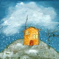 Early Snow Storm, Whimsical House, Landscape Art