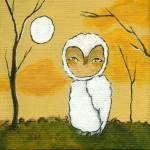 """Evening Stroll, Whimsical White Owl,Landscape Art"" by Itaya"