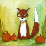 """Making Choices,Fox and Pumpkins,Abstract Landscape"" by Itaya"