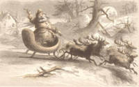 Vintage Santa Singing with Reindeer