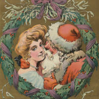 Vintage Christmas Wreath and Santa