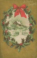 Vintage Christmas Wreath and Winter Cabin
