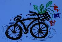 abstract bike with flowers