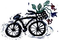 abstract bicycle with flowers