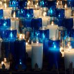 """Blue and White Prayer Candles DSC_0298"" by AndreHugosPlace"