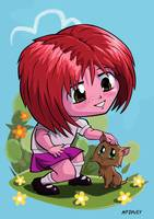 Little cartoon manga girl stroking pet cat