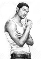 usher art long drawing sketch poster