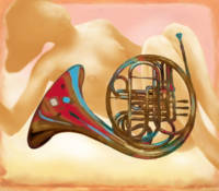music instrument with nude - stylised drawing art
