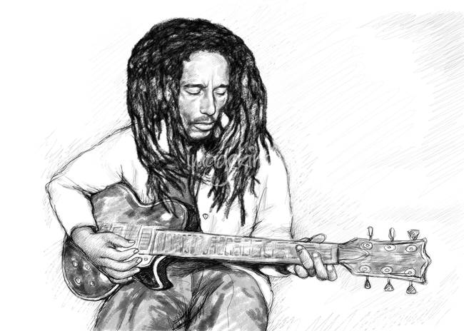 Bob Marley Black And White Drawing on Sketch Art For Sale
