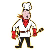 Chef Cook Standing Holding Spatula