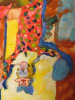 watercolors 1998 clown girl