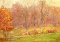 Vintage Fall Forest Painting