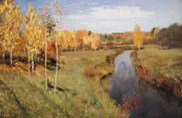 Vintage Autumn River Painting