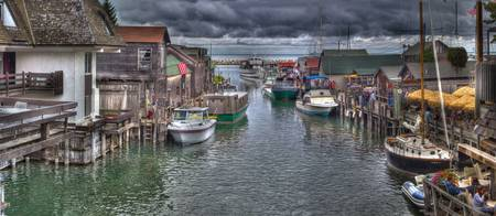 Michigan Leland Fishtown Pan HDR