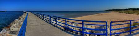 Michigan Onekama Pier Beach Panorama HDR