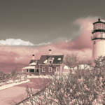 """Naive Art Photography - Pink Truro Lighthouse In W"" by Black_White_Photos"