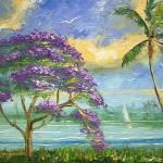 """Jacaranda and Palm Tree"" by mazz"