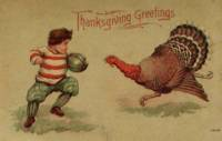 Vintage Thanksgiving Football and Turkey