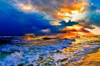 Golden Sunrays Seascape