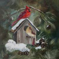 Cardinals on Snow Covered Birdhouse Art Prints & Posters by Brenda Thour