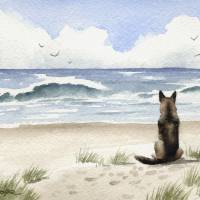 German Shepherd at the Beach Art Prints & Posters by David Rogers