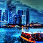 """City in Blue - Urban landscape Singapore"" by sghomedeco"