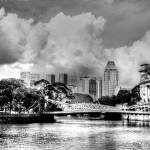 """Urban Landscape Black/white - City Singapore"" by sghomedeco"