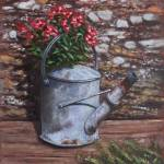 """Old watering can with flowers by stone wall"" by martindavey"