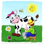 """Daisy is milked by a farmer"" by BarbaraPelizzoli"