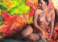 FINE ART FEMALE NUDE ANASTASIA AND DAYLILIES