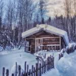 """Robert Service Cabin Winter Idyll"" by Piri"