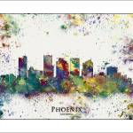 """Phoenix city skyline"" by WaterColorMaps"