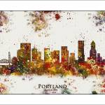 """Portland Oregon City Skyline"" by WaterColorMaps"