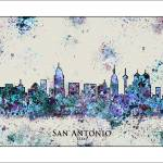 """San Antonio City  Skyline"" by WaterColorMaps"