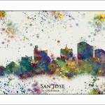 """San Jose City Skyline"" by WaterColorMaps"