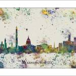 """Washington DC City Skyline"" by WaterColorMaps"