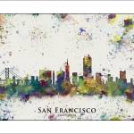 """San Francisco city skyline"" by WaterColorMaps"