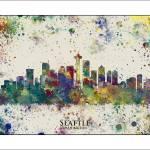 """SEATTLE Washington  City Skyline"" by WaterColorMaps"