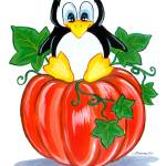 """Penguin on a Pumpkin"" by BarbaraPelizzoli"