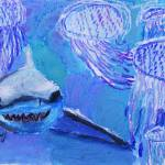 """Shark and Jellyfish Painting"" by SharpArt"