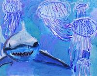 Shark and Jellyfish Painting