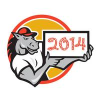 Year of Horse 2014 Showing Sign Cartoon
