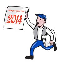 New Year 2014 Newspaper Boy Showing Sign Cartoon