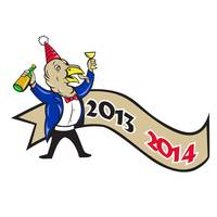 Happy New Year 2014 Turkey Toasting Wine Cartoon