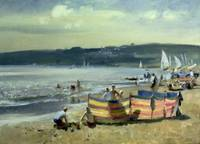 Children on the Beach at Abersoch (oil on canvas)