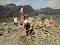 Poor People Gathering Coal at an Exhausted Mine